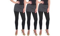 Groupon - Women's Supersoft Cotton-Blend Skirt Leggings (3-Pack). Groupon deal price: $19.99