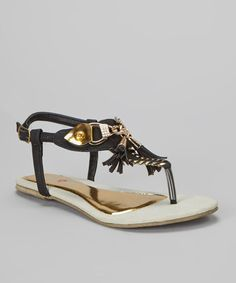 Take a look at this Black Anabel Embellished T-Strap Sandal by French Kiss on #zulily today!