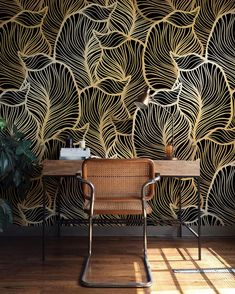 Monochrome Leaf Wallpaper Exotic leaves Wallpaper Baroque style Wall Mural Home Décor Easy install Wall Decal Removable Wallpaper Of Wallpaper, Leaves Wallpaper, Pattern Wallpaper, Interior Wallpaper, Office Wallpaper, Wallpaper Ideas, Decorating Your Home, Interior Decorating, Decorating Websites