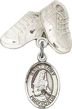 Sterling Silver Baby Badge with St Emily de Vialar Charm and Baby Boots Pin -- To view further for this item, visit the image link.