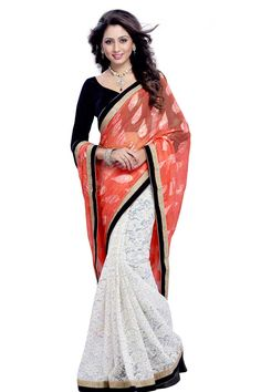Pink and white brasso saree with black velvet blouse with price $92.20.Embellished with stone.Saree comes with v neck blouse.It is perfect for casual wear, festival wear, party wear and wedding wear.Andaaz Fashion is the most popular designer wear online ethnic shop brands.  http://www.andaazfashion.us/womens/sarees/occasion/bridal-wear-saree