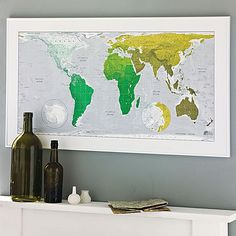 World Wall Map by The Future Mapping Company, the perfect gift for Explore more unique gifts in our curated marketplace. Pantone Green, Great Definition, Create A Map, Luminous Colours, Wall Maps, Us Map, Printing Process, Screen Printing, Digital Prints