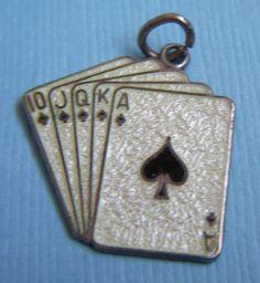 Vintage enamel Beau playing cards poker sterling charm