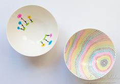 Bols decorados con marcadores para cerámica - Guía de MANUALIDADES