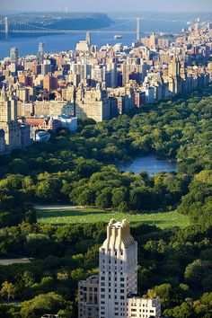 Central Park, looking north on the Hudson River & the Geo. Washington Bridge
