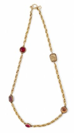 1c244c67e2 A Robert Goossens for Chanel chain necklace with coloured stones