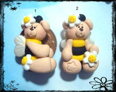 SALE Bumble Bee Bear Polymer Clay Charm Bead Scrapbooking Bow Center. $1.50, via Etsy.