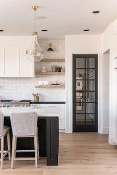 New Kitchen, Kitchen Decor, Warm Kitchen, Natural Kitchen, Family Kitchen, Kitchen Tiles, Porcelain Countertops, Black Quartz Countertops, Style Me Pretty Living