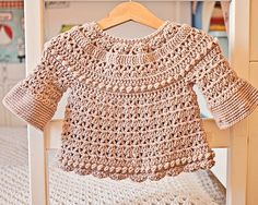 Crochet PATTERN Bell Sleeve Cardigan sizes baby up to 6