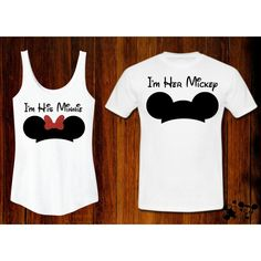 I'm His MinnieTank I'm Her Mickey Tee Couples Coordinating Disney... ($43) ❤ liked on Polyvore featuring tops, t-shirts, t shirts, vinyl top, letter shirts, vinyl shirt and vinyl t shirt
