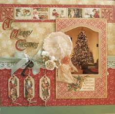 A Merry Christmas ~ beautiful vintage style holiday page using graphic45 papers.
