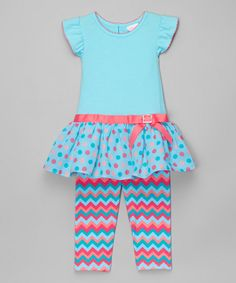 Loving this Mint Angel-Sleeve Dress & Leggings - Infant, Toddler & Girls on #zulily! #zulilyfinds
