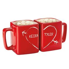 Half Heart Square Red Mug Set