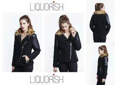Liquorish Black Wool Biker Jacket, on sale now!