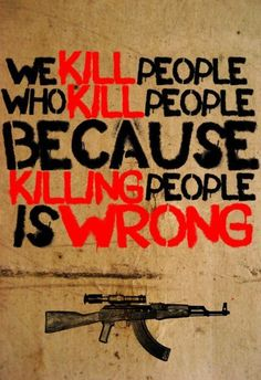 "(Banksy) ""We kill people who kill people because killing people is wrong"" / Street Art ( ) Banksy Art, Bansky, Urbane Kunst, Political Art, Political Images, Political Posters, Street Art Graffiti, Graffiti Artists, Urban Art"
