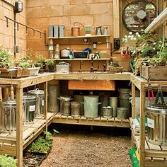 Garden Sheds Inside wooden crates along the wall provide shelving and additional