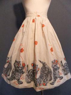 Vtg-50s-60s-Cat-Print-Devilish-Kittens-Novelty-Print-Skirt-XS-Pinup-Rockabilly #50sCircleSkirt #50sFashion #Kittens