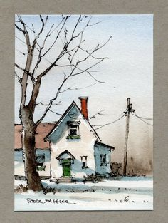 Watercolor Paintings For Beginners, Easy Watercolor, Watercolor Artwork, Oil Painting Abstract, Watercolor Illustration, Watercolor Artists, Painting Art, Watercolor Architecture, Watercolor Landscape