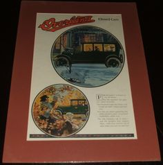 1920 Full Page Color Automotive Ad for Overland Six Sedan , Matted Ready to Frame  A fine vintage automotive advertisement . This Classic car ad is 19 by 14 inches matted. See Photos   This vintage piece of cover art was matted by me personally and is now ready for framing. This would make a unique and special Gift. I do not sell reproductions and I have been matted and framing my own prints for years. A great piece of vintage magazine art.