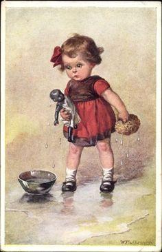 Artist Postcard Fialkowska, Wally, Mädchen wäscht ihre Puppe Munk 1326