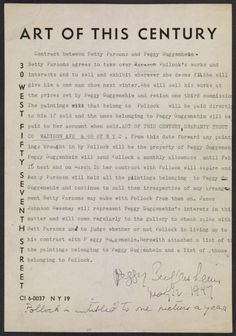 Citation: Contract between Betty Parsons and Peggy Guggenheim regarding representation of Jackson Pollock, 1947 May 12 . Betty Parsons Gallery records and personal papers, Archives of American Art, Smithsonian Institution.