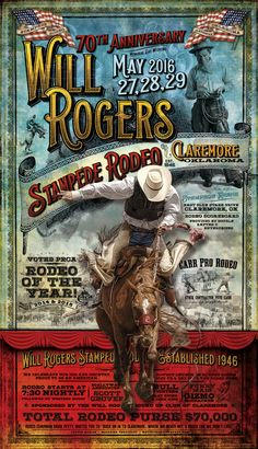 New Poster for the Will Rogers Stampede Rodeo in Claremore, OK. Available through maverickdesigngroup.com