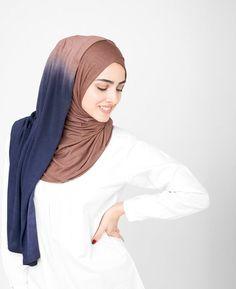 Nutmeg & Deep Cobalt Jersey Ombre Hijab 5FA5d