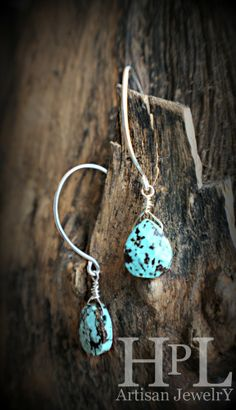 """sterling silver hand madehoop earringsgenuine turquoisemeasure-1.5"""" h use   code  SAM35    for a 35%discount      PRICE AFTER DISCOUNT $22.75"""