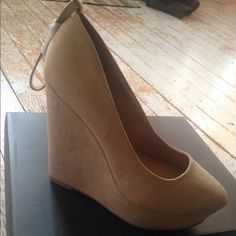 Just Fab Nude Wedges Woman's Shoes BRAND NEW just fab nude wedges size 7.5 , they run small ! Never wore new in box JustFab Shoes Wedges