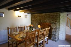 Large dining area at one end of the lounge, in front of the fireplace with original cloam oven Cornwall, Dining Area, Oven, Lounge, Cottage, The Originals, Home Decor, Airport Lounge, Decoration Home