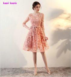 Fashion Pink Lace Short Prom Dresses 2017 New Sexy Scoop Kenn-Lingth Prom Praty Gown Vestido De Festa Elegant Homecoming Dresses