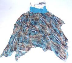 NWT CHA CHA VENTE HALTER TOP PRINTED DRESS BLUE SLEEVLESS