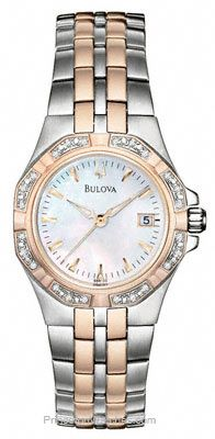 Bulova Rose Gold Two-Tone 24 Diamond Watch - Mother of Pearl Dial - Date