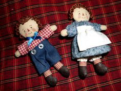 Vintage raggedy ann and andy miniature dolls handmade