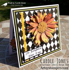 Craftilicious Creations: * Artsystamper: Sunflower 17 Black, Black And White, Black Card, Digi Stamps, Paper Background, Paper Goods, Badge, Have Fun, My Etsy Shop