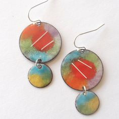 Handcrafted, Torch Fired Enamel Earrings in Bold and Bright Colors on Etsy, $36.00