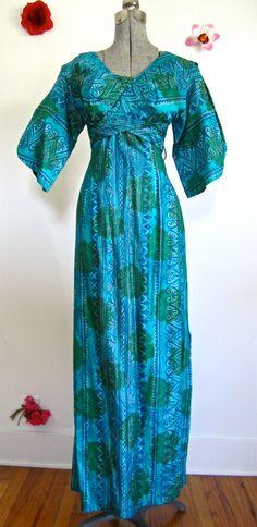 Sz.S, 50s Pake Muu Blues Greens Tiki Maxi Dress By Waikiki Sports, Honolulu Hawaii. $78.00, via Etsy.