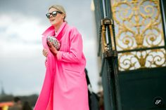 fashion blogger Sofie Valkiers of Fashionata before Viktor & Rolf during Paris Women's Fashion Week on a street style photo wearing a coat f...