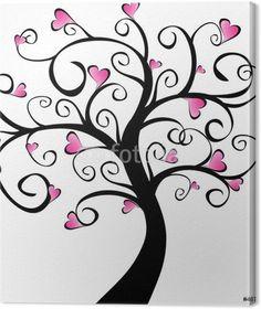 arbre en fleurs - cœurs roses Canvas Print - Wall decals