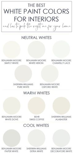 The best white paint colors for interiors - The best white colors for . - The best white paint colors for interiors – The best white colors for interiors. Also includes ti - Interior Paint Colors, Paint Colors For Home, Paint Colours, Best Neutral Paint Colors, Interior Painting, Wall Painting Colors, Warm Vs Cool Colors, Neutral Wall Paint, Cottage Paint Colors