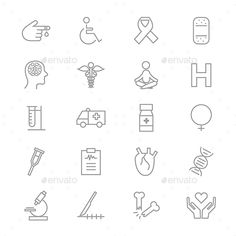 Buy Medical Health Fitness and Science Set Of Healthy Icons Line by karawan on GraphicRiver. This is graphics vector Illustration icons. Ready to use for websites, social medias, presentations, applications, in. Hannah Tattoo, Life Flight, Hospital Icon, Care Logo, Social Media Icons, Ambulance, Icon Set, Writing Journals, Presentation