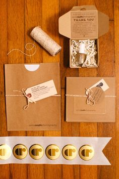 Kraft Inspired Photography Packaging #branding #box #gold #seal #tags #twine #diy #essie #nail #polish #gift #wrapping #presents