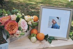 Framebridge, Garden roses, citrus decor, girl first birthday party, baby shower, floral arrangements, peonies and roses, orange themed party, citrus theme party