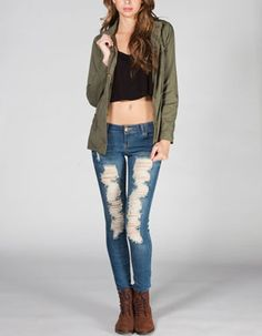 ASHLEY Womens Twill Anorak Jacket Anorak Jacket, Beauty Queens, Skinny Jeans, Zip, Makeup, Cotton, Pants, Jackets, Women