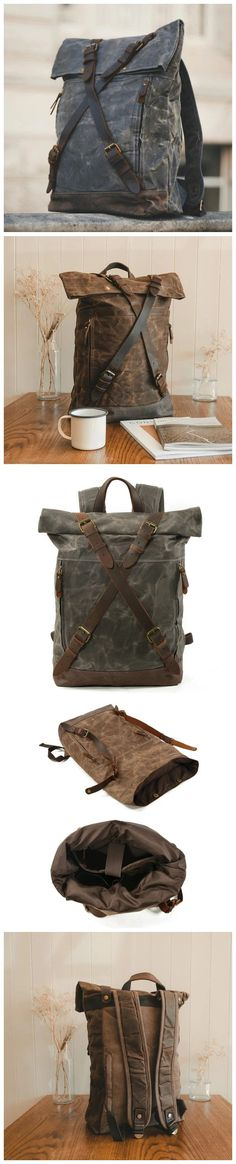 Waxed Canvas Unisex Travel Backpack Waterproof Mountaineering Backpack Canvas With Full Grain Leather Laptop Rucksack MC9505 Canvas Backpacks, Waxed Canvas, Mountaineering, Travel Backpack, Christmas Shopping, Natural Leather, Shoulder Strap, Men's Fashion, Laptop