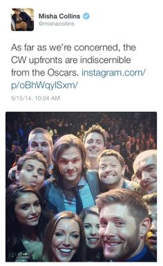 Misha Collins tweet about #CWUpfronts14 - I couldn't agree more! <3