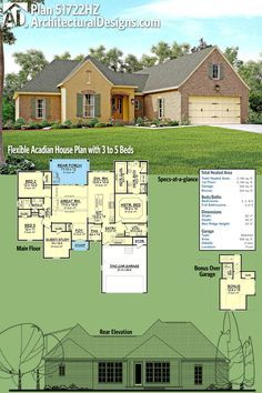 Architectural Designs Flexible Acadian Plan 51722HZ has the option for 3, 4, or 5 bedrooms and provides over 2,200 square feet of heated living space. Ready when you are. Where do YOU want to build?