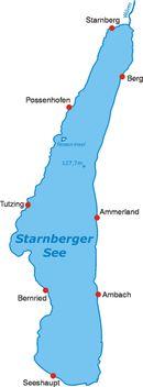 Der Starnberger See mit anliegenden Ortschaften