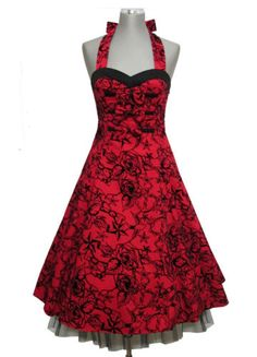 potential bridesmaid dress.  would maybe swap black flower on flower girl dress for a red one so they tie together nicely