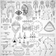 Colecci n de elementos de dise o tribal marcos del doodle flechas arcos armas y tocados ilustraci n  Foto de archivo
